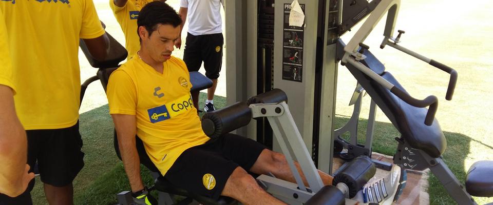 Carlos Pinto en la sesión de gimnasio de este jueves